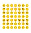 set emoticons funny cartoon faces avatars vector image