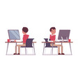 set of young male office worker at the office desk vector image vector image