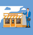 shop building businessman with briefcase vector image