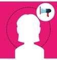 silhouette woman megaphone vector image