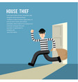simple cartoon a burglar break into a house vector image