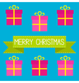 Six gift boxes with ribbons bows Merry Christmas vector image vector image
