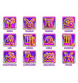 square purple astrology signs 12 zodiac vector image