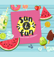 summer card on blue wooden background vector image vector image