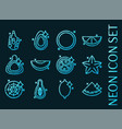 tropical fruit set icons blue glowing neon style vector image