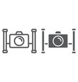 underwater camera line and glyph icon vector image vector image