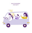van travel lifestyle hand drawn flat vector image