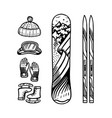 vintage style snowboard and ski winter warm vector image