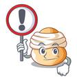 with sign cartoon semla bun with almond paste vector image vector image