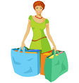 young woman with shopping bags in hand vector image vector image