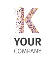 Alphabet particles logotype Letter-K vector image