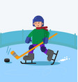 boy playing ice hockey vector image