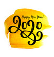 2020 hand written lettering with golden paint vector image