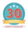 30 years anniversary emblem with ribbon stars vector image