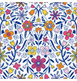 abstract floral symmetrical seamless pattern vector image vector image