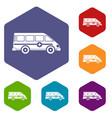 ambulance emergency van icons set hexagon vector image vector image