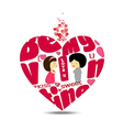 Be valentines typography in heart vector image vector image