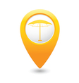 beach umbrella icon icon on yellow pointer vector image vector image