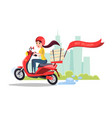 cartoon delivery girl riding scooter vector image