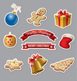 christmas icons and stickers vector image vector image