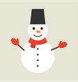 christmas white snowman in flat style vector image