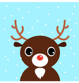 Cute christmas cartoon Deer on blue background vector image vector image