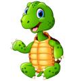 cute green waving turtle vector image vector image