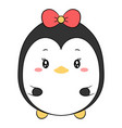 cute penguin drawing with red bow for christmas vector image vector image