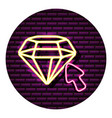 diamond arrow neon video game wall vector image