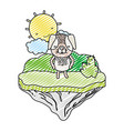 doodle happy dog animal in the float island vector image vector image