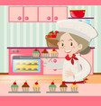 female baker baking in kitchen vector image