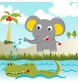 funny animals cartoon elephant with crocodile vector image vector image