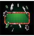 gambling casino banner with flying chips vector image vector image