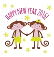 Greeting card with a year of the monkey 2016 vector image vector image