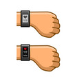 hands with fitness tracker set pulse monitor vector image vector image