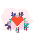 happy valentines day tiny people vector image vector image