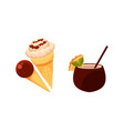 ice cream cones cocktail drink in coconut shell vector image