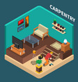 isometric carpentry domestic composition vector image