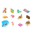 isometric collection summer icons summer and vector image