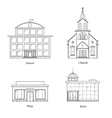 Linear Buildings Set vector image vector image