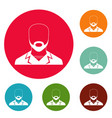 man avatar icons circle set vector image