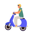 man riding on motorbike cartoon teenager in vector image