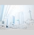 modern thin line cityscape with skyscrapers and vector image