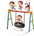 Monkey and swing vector image vector image