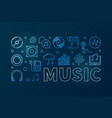 music blue or banner in thin vector image vector image