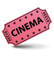 Pink cinema ticket vector image vector image