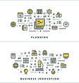 Planning and Business Innovation Flat Thin Line vector image