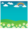 rainbow landscape with flowers and cloud vector image vector image
