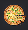realistic pizza pieces fresh pizza part with vector image