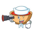 sailor with binocular tomato soup character vector image
